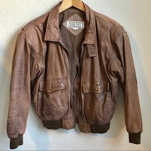 Vintage Avanti Distressed Leather Bomber Jacket